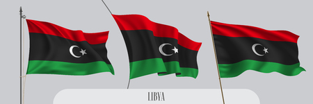 Set of Libya waving flag on isolated background vector illustration. 3 black red Libyan wavy realistic flag as a patriotic symbol Illusztráció