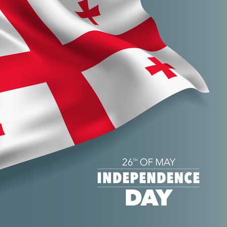 Georgia happy independence day greeting card, banner vector illustration Çizim