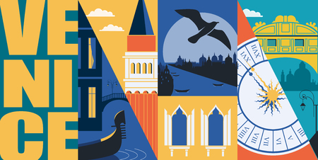 Bandiera di vettore di Venezia, Italia, illustrazione. Orizzonte della città, edifici storici in stile moderno design piatto. Antichi monumenti italiani Vettoriali