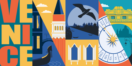 Venice, Italy vector banner, illustration. City skyline, Grand canal, San Marco, historical buildings in modern flat design style. Italian ancient landmarks Vettoriali