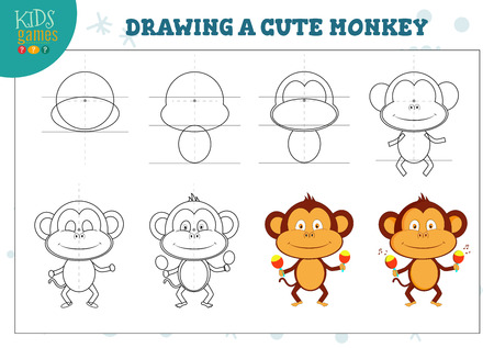 Drawing lesson for preschool kids vector illustration. Copy the scheme and draw a cute dancing monkey