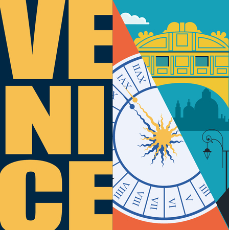 Venice, Italy vector illustration, postcard. Travel to Venice modern flat graphic design element with Italian landmarks and architecture - bridge of sighs