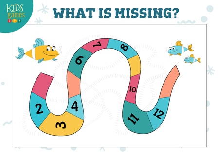 Counting game with cartoon fish and sequence of numbers vector illustration. Development activity, puzzle for preschool children