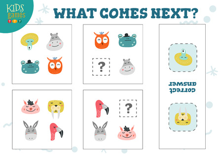 What comes next preschool kids game vector illustration. Logic quiz activity with cute cartoon owl, flamingo, monkey