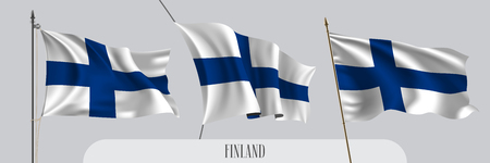 Set of Finland waving flag on isolated background vector illustration