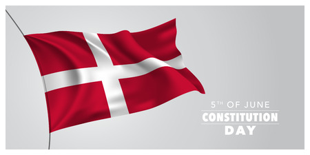 Denmark happy constitution day greeting card, banner, horizontal vector illustration