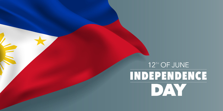 Philippines happy independence day greeting card, banner with template text vector illustration