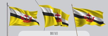Set of Brunei waving flag on isolated background vector illustration Illustration