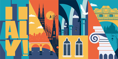 Travel to Italy vector banner, illustration. City skyline, historical buildings Vetores