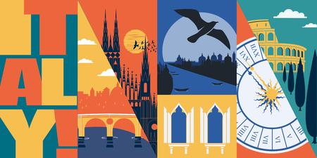 Viaggio in Italia illustrazione dello skyline di vettore, cartolina. Banner grafico piatto moderno italiano Vettoriali