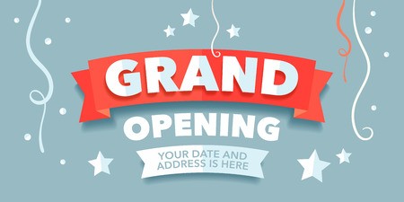 Grand opening vector banner with festive background and red ribbon Illusztráció
