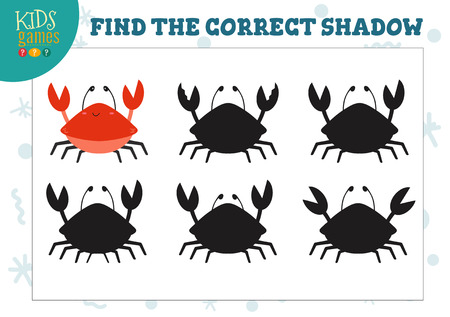 Find the correct shadow for cute cartoon crab educational preschool kids mini game