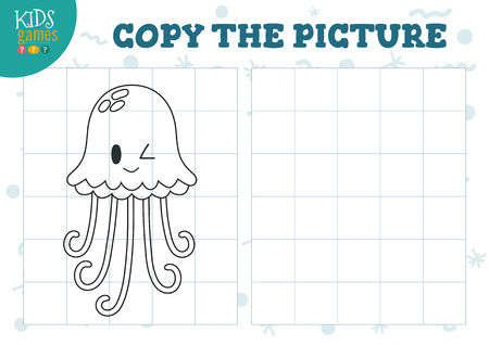 Copy picture by grid vector illustration. Educational mini game, puzzle for preschool kids