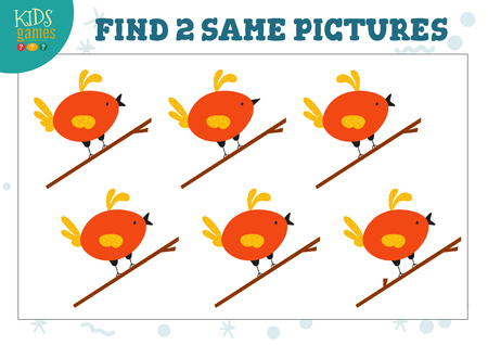 Find two same pictures kids game vector illustration. Activity for preschool children with matching objects and finding 2 identical. Cartoon bird character Stok Fotoğraf - 124011907
