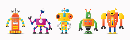 Set of cute vector robot or monster characters for kids. Vintage futuristic cyborgs and humanoids on white isolated background Foto de archivo - 125415895
