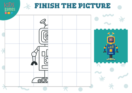 Copy picture vector illustration. Complete and coloring game for preschool and school kids. Cute one eye robot for drawing and early development activity Vetores