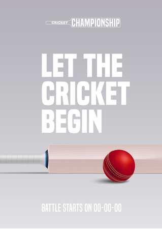 Poster for cricket vector illustration. Ball and bat for sports contest and match