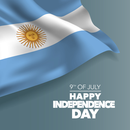 Argentina happy independence day greeting card, banner, vector illustration. Argentinian holiday 9th of July design element with curved flag Vectores