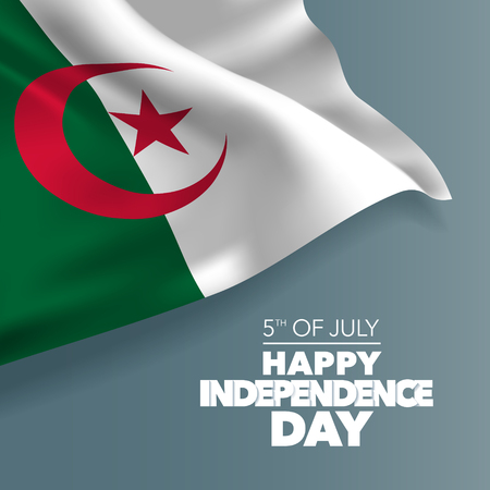 Algeria happy independence day greeting card, banner, vector illustration