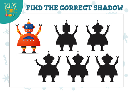 Encuentra la sombra correcta para el minijuego educativo de robot de dibujos animados lindo para niños en edad preescolar. Ilustración de vector con 5 siluetas para ejercicio de combinación de sombras