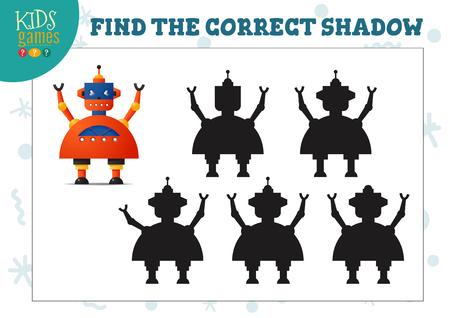 Trova l'ombra corretta per il mini gioco educativo per bambini in età prescolare robot simpatico cartone animato. Illustrazione vettoriale con 5 sagome per esercizi di corrispondenza delle ombre