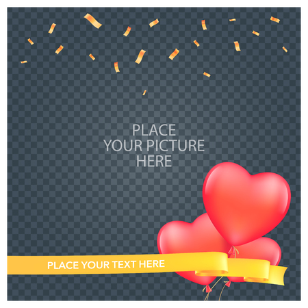 Collage of photo frame vector illustration. Design element of empty frame with romantic balloons