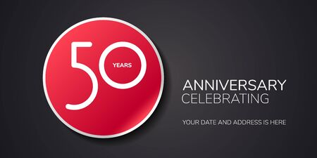 50 years anniversary vector logo, icon. Template design element with number  イラスト・ベクター素材