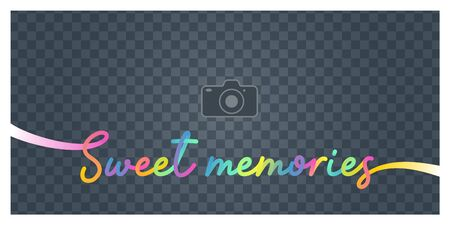 Collage of photo frame and Sign Sweet memories vector illustration, background