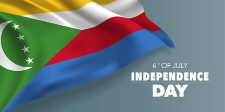 Comoros happy independence day greeting card, banner with template text vector illustration