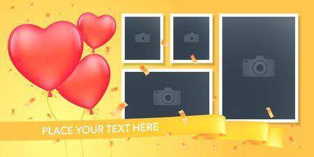 Collage of photo frames vector illustration. Design element of empty frames with romantic balloons