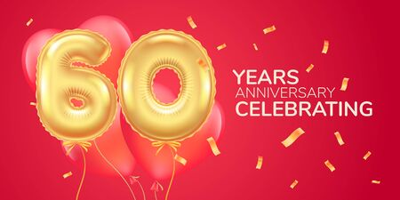 60 years anniversary vector logo, icon. Template banner with heart air hot balloon
