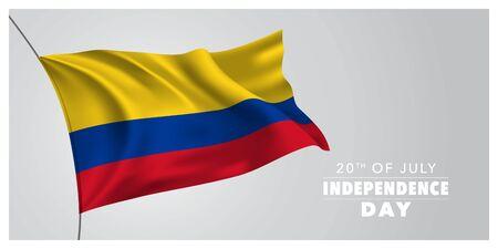 Kolumbien glückliche Unabhängigkeitstaggrußkarte, Fahne, horizontale Vektorillustration