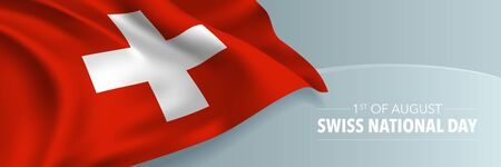 Swiss happy national day banner, greeting card. Switzerland wavy flag in 1st of August patriotic holiday horizontal design