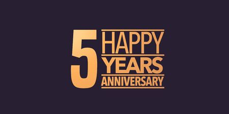 5 years anniversary icon. Graphic background or card for 5th anniversary Stock Vector - 127038387