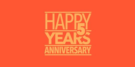 5 years anniversary icon. Design element with composition of letters Illustration