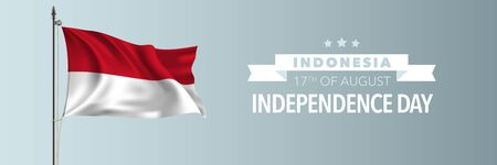 Indonesia happy independence day greeting card, banner illustration