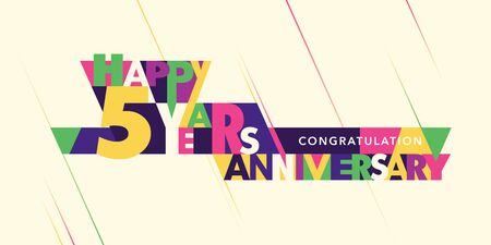 5 years anniversary vector logo, icon. Template banner with modern composition of letters