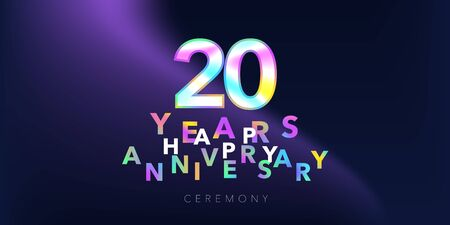 20 years anniversary vector logo, icon. Design element with number and text