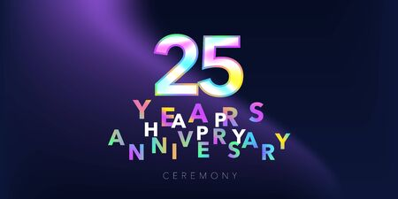 25 years anniversary vector logo, icon. Design element with number and text