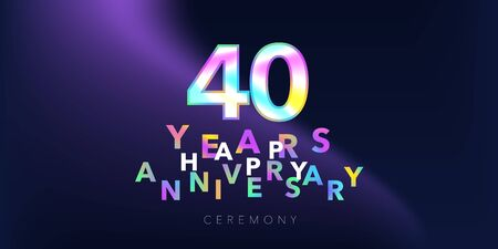 40 years anniversary vector logo, icon. Design element with number and text