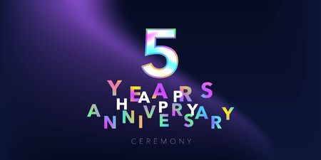 5 years anniversary vector logo, icon. Design element with number and text Stock Vector - 131554917