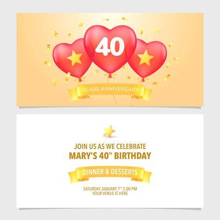 40 years anniversary invitation vector illustration. Design template element with elegant background 向量圖像