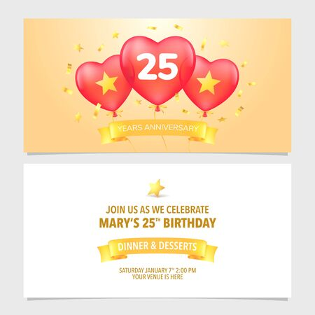 25 years anniversary invitation vector illustration. Design template element with elegant background Иллюстрация