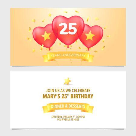 25 years anniversary invitation vector illustration. Design template element with elegant background 向量圖像