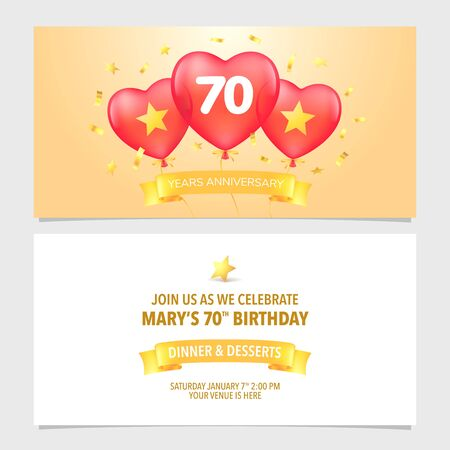 70 years anniversary invitation vector illustration. Design template element with elegant background Çizim