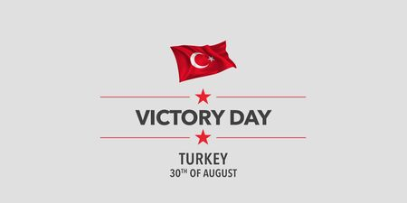 Turkey happy victory day greeting card, banner, vector illustration