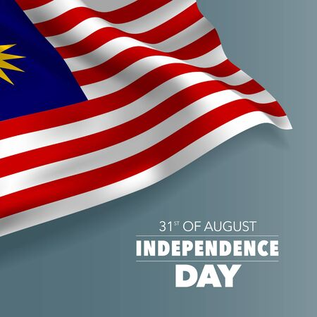 Malaysia happy independence day greeting card, banner, vector illustration