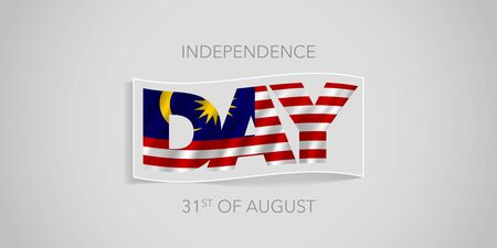 Malaysia happy independence day vector banner, greeting card. Malaysian wavy flag in nonstandard design for 31st of August national holiday