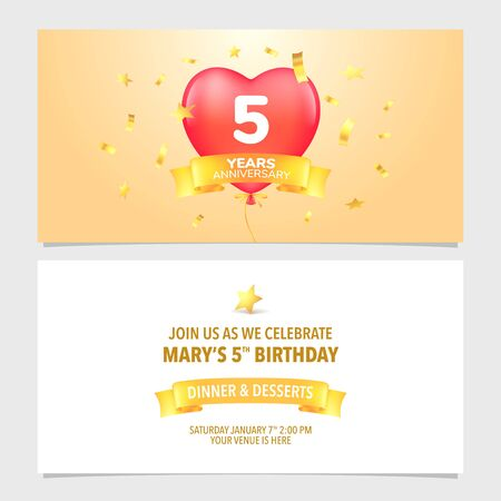 5 years anniversary invitation card vector illustration. Design template element Stock Vector - 129452754