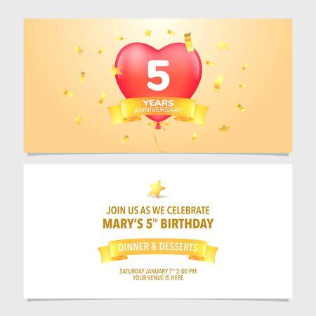 5 years anniversary invitation card vector illustration. Design template element